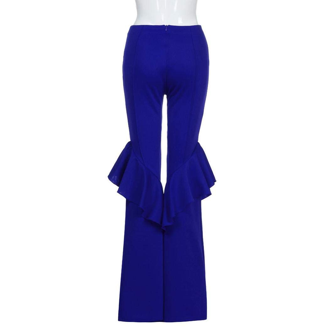 GouuoHi Womens Pants Womens High Waist Fitted Flared Frill Hem Palazzo Trouser Ruffle Party Pants Fashion Leisure Elegant Cosy Wild Tight Super Quality for Womens (color   blue, Size   L)