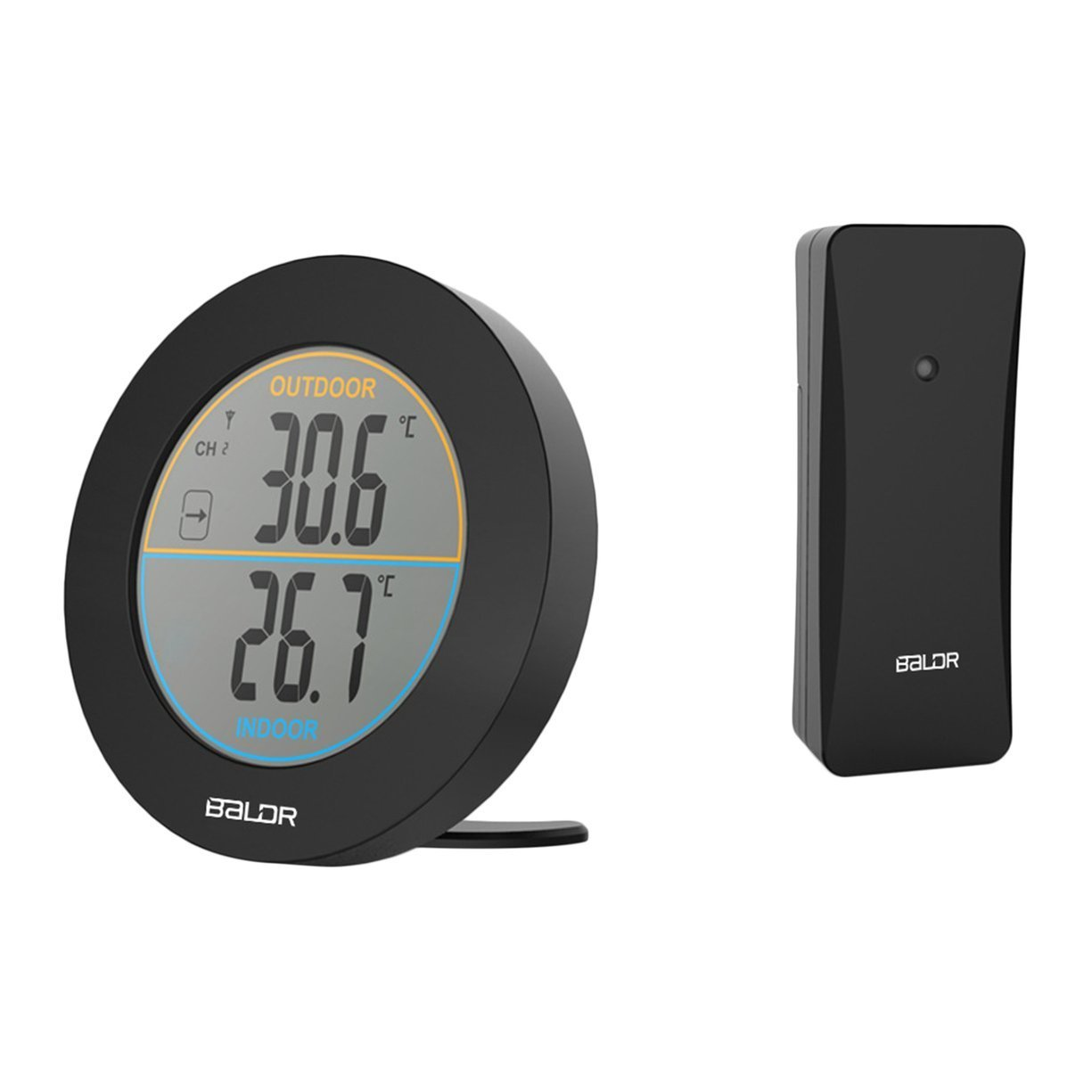 Baldr Round Shape Wireless Thermometer Table Indoor Outdoor LCD Display Digital Wall Temperature Meter Sensor B0127T2