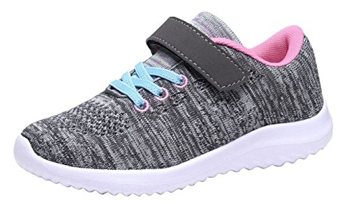 (Umbale Girls Flyknit Sneakers Comfort Running Shoes(Toddler/Kids) (12 M US Little Kid, Grey/Pink))