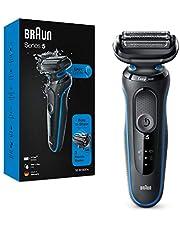 Braun Series 5 50-B1000S Elektrisch Scheerapparaat, Wet & Dry, Oplaadbaar, 50 Min. Gebruikstijd, 3 Flexibele Mesjes, Compatibel met EasyClick-Systeem, 13.7 x 6.7 x 25.2 cm, Blauw/Zwart