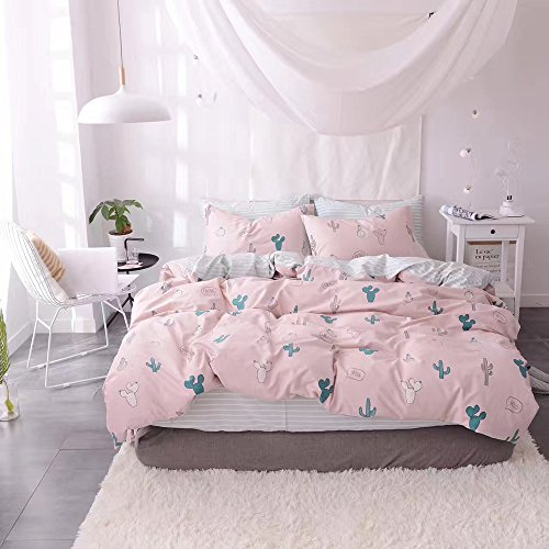 HIGHBUY Cactus Print Kids Duvet Cover Set Full 100% Cotton Pink Striped Children Duvet Cover with Zipper Closure 3 Piece Reversible Bedding Set Queen for Girls by HIGHBUY (Image #2)