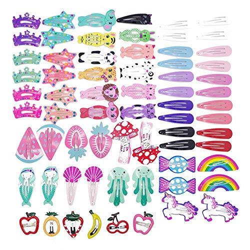 MJARTORIA 68 Pcs Animal Fruit Pattern Print Girls' Hair Clips No Slip Metal Hair Clips Snap Barrettes for Girls Toddlers Kids Women Accessories (68 Pcs)