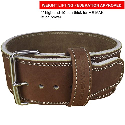 Steel Sweat Weight Lifting Belt - 4 Inches Wide by 10mm - Single Prong Powerlifting Belt That's Heavy Duty - Vegetable Tanned Leather - Hyde Large by Steel Sweat (Image #8)