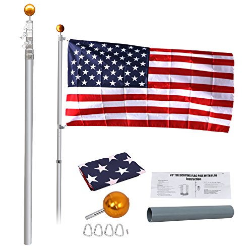 16' Adjustable Collar - ZENSTYLE 20FT Telescoping Flagpole - 5 Sectional Telescopic Aluminum Flag Pole Available Fly 2 Flags - Outdoor In-ground Flagpole Hardware Kit w/US American Flag and Ball Top