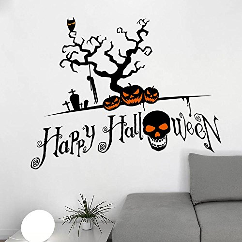 JMHWALL Halloween pumpkin skull 3D wall sticker for kids room living room bedroom Halloween party wall decal home decor PVC wall decal,A -