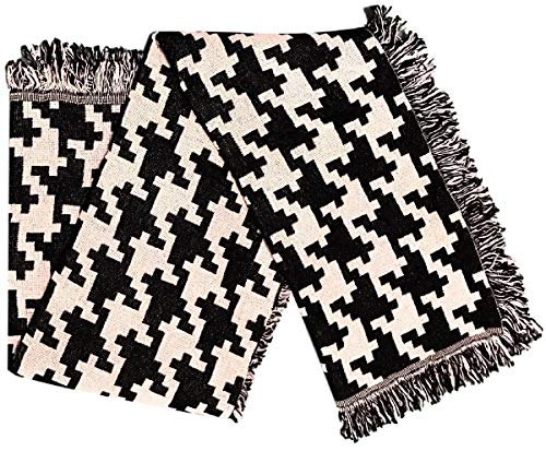 Dave's Collections Black Beige Retro Checkered Tapestry Fringed Cotton Throw Blanket - 46x60 (Transitional Black Tapestry)