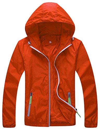 Women's Lightweight Windbreaker UV Protect Coat Hooded Sport Front-Zip Jacket Orange M