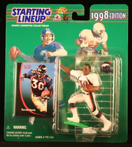 TERRELL DAVIS / DENVER BRONCOS 1998 NFL Starting Lineup Action Figure & Exclusive NFL Collector Trading - Georgia Outlets Atlanta In