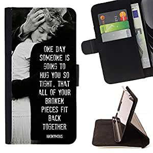 BullDog Case - FOR/LG OPTIMUS L90 / - / love heartbreaks family black white /- Monedero de cuero de la PU Llevar cubierta de la caja con el ID Credit Card Slots Flip funda de cuer