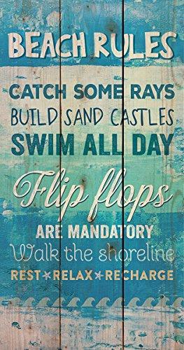 Beach Rules Flip Flops Blue 20 x 10.5 inch Wood Board Plank
