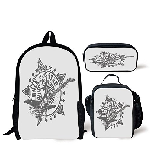 iPrint School Lunch Pen Bags,Guitar,Stars with Rock Sign Monochrome Musical Instrument Design Rockstar Life Singing,Pale Grey White,3 Piece Set ()