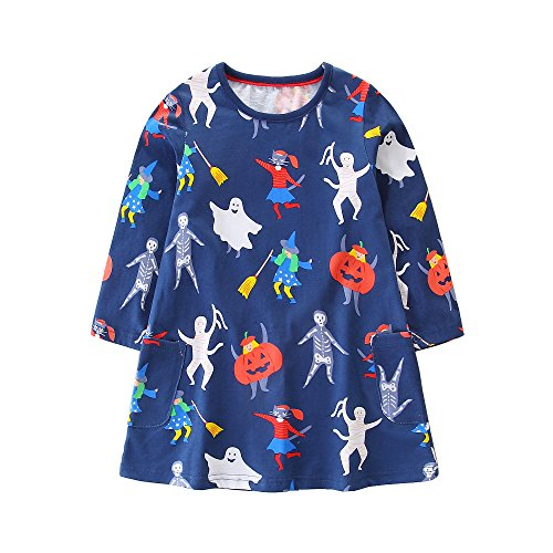 FreeLu Girls' Cotton Casual Longsleeve Party Dresses Special Occasion Cartoon Print Dress(Halloween,7T) for $<!--$13.60-->