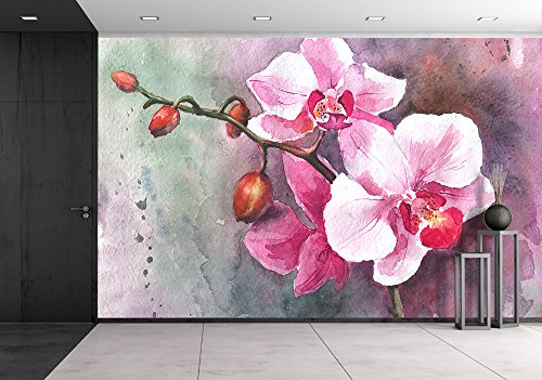 Watercolor Hand Drawn Orchid Flowers