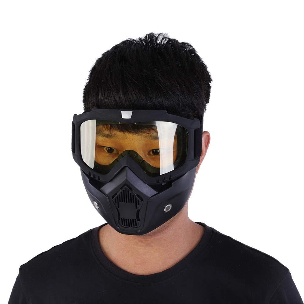 Skifahren Default Silber//schwarz Estink Motorradmaske mit Brille mit Anti-Fog-Filter verstellbares Kopfband Snowboard Motorrad Winddicht Motocross Stirnband f/ür Motocross