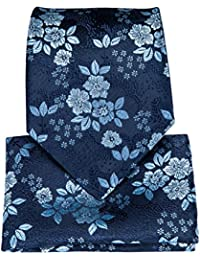 Silk Tie Floral Necktie and Pocket Square Cufflink Set Woven Tie for Men