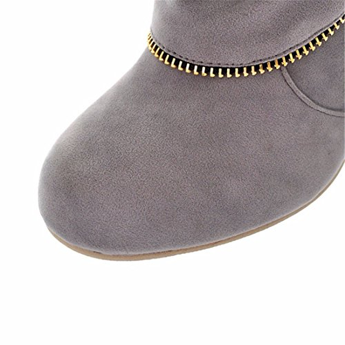 Big size high boots, coarse heel, high boots, frosted boots Gray