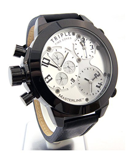 Reloj Masterline1966 XXL 52 mm triple time Chrono-imitación piel ML06166002: Amazon.es: Relojes