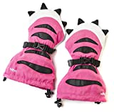 Veyo Kids - Pink Tiger Paw Mittyz | Waterproof Kids Mittens | Toddler Gloves | Easy on, Stay on, | Perfect for Snow Skiing, Sledding, and Winter Play (Large 4 - 6 Years)