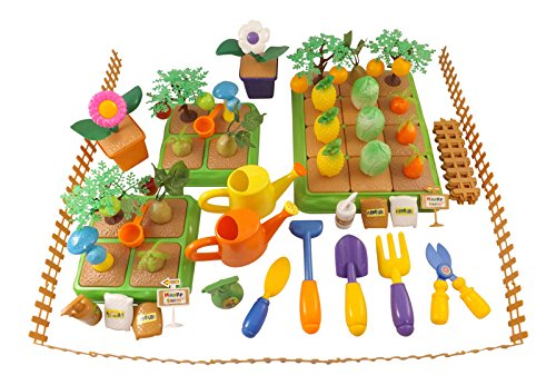 Price comparison product image Create-Your-Own Farm Building Playset for Kids with Garden Tools,  Crops & Fruits