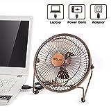 OPOLAR 6 Inch Desktop USB Fan, USB Powered, Personal Table Fan, Mini Cooling Fan, Small Desk Fan - Bronze