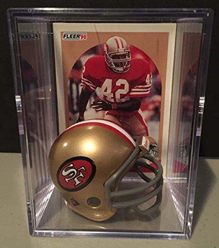 (San Francisco 49ers NFL Helmet Shadowbox w/ Ronnie Lott card)