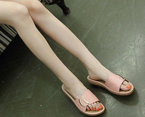 Rosa Massiccio Summer Slippers Zhhzz Metallo Round New Ms Sandali Liangxie Bottone In Con T4vqw74x
