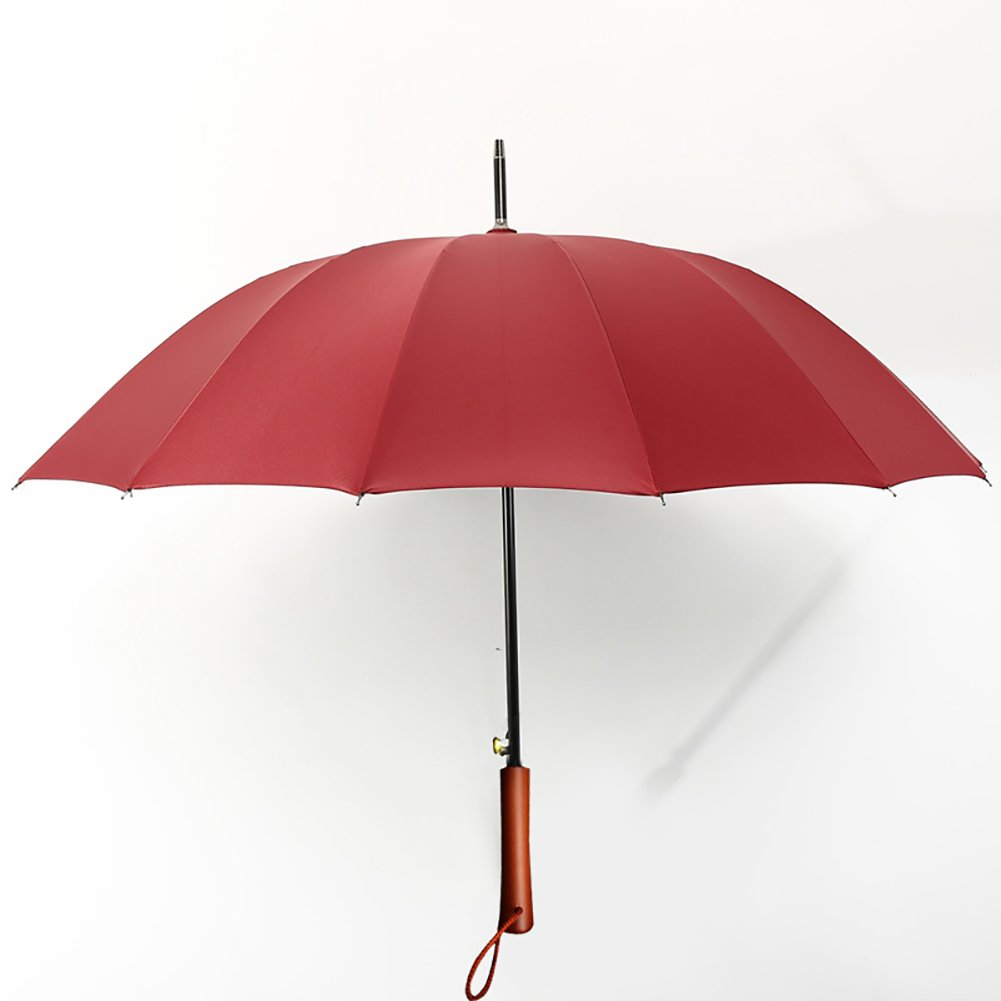 Long Umbrella Wood Handle Parasol Double Use Commercial Style Wind-resistant (Color : Red)