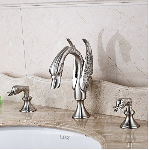 Gowe Nickel Brushed Finished Double Handles Bathroom Sink Faucet Widespread 3pcs Mixer Tap 3