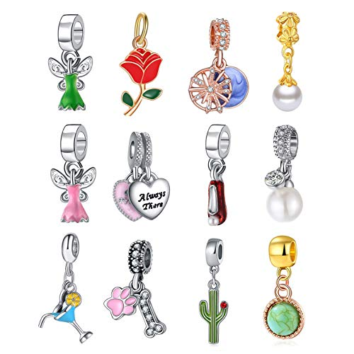 12pcs Charm Pendant Pearl Heart Shoe Turquoise Cactus Rose Pet Claw Dainty Drop Dangle Jewelry for Necklace Bracelet Ankle Earring DIY Making, with Big Round Ring
