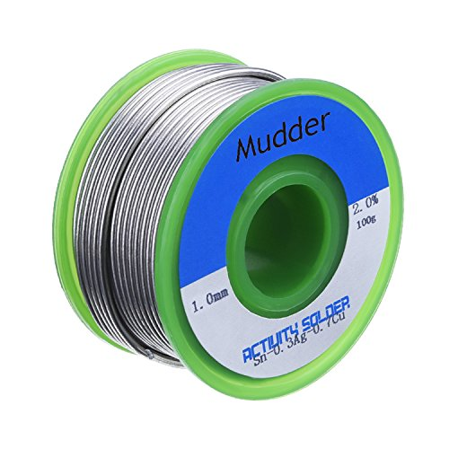 Mudder Lead Free Solder Wire Sn99 Ag0.3 Cu0.7 with Rosin Core for Electrical Soldering 100g (1.0 mm)