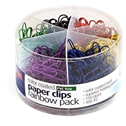 Officemate Plastic Coated Paper Clips, No. 2 Size-Assorted-450 ct