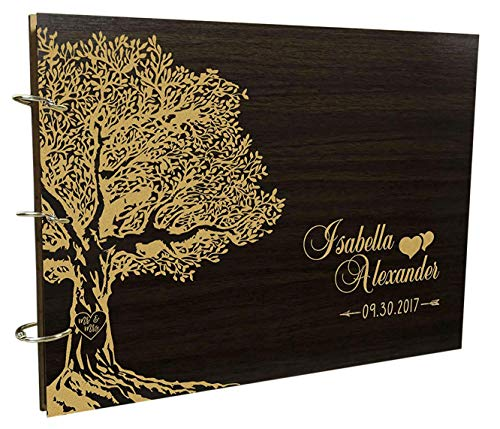Handmade Wooden Photo Album Book Personalized Wood Engraved Wedding Tree Guest Book