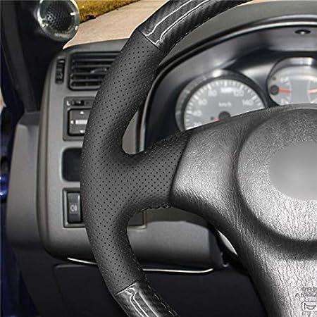 OPOPDLSA Cubierta Negra del Volante del Coche de la Fibra de Carbono de la PU para Toyota RAV4 1998-2003 Celica 1998-2005 Corolla///2003-2008