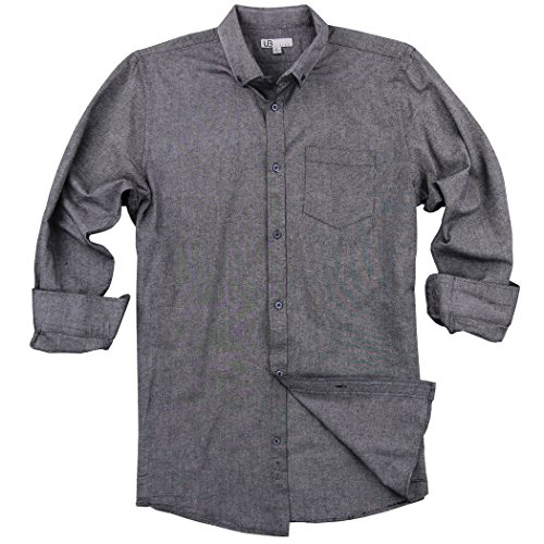 Button Down Collar Oxford Shirt (Men's 100% Cotton Long Sleeve Button Down Collar Oxford Shirt (Oxford Black, Regular Fit: Large))