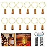 FITFIRST Cork Shaped Wine Bottle Lights, Battery Operated Bottle Cork Copper Wire Lights, 2M 20 Led Warm White Fairy Light for Halloween, Christmas or Party Decorations,12 Pack