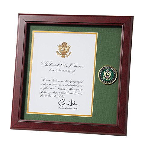 Allied Frame United States Army Presidential Memorial Certificate Frame with Medallion - 8 x 10 inch