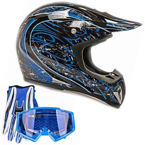 Typhoon ATV MX Helmet Goggles Gloves Gear Combo Blue Splatter ()