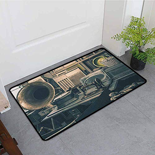 Antique Fashion Door mat Antique Store Inventory Old Gramophone Sewing Machine Other Early Twenty Century Stuff Hard and wear Resistant W15 x L23 Sepia -