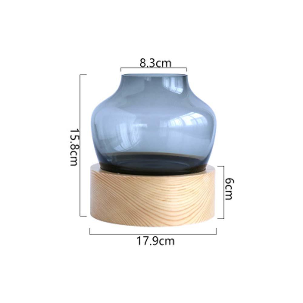 色ガラス花瓶用花緑植物結婚式の植木鉢装飾ホームオフィスデスク花瓶花バスケットフロア花瓶 (色 : 青, サイズ さいず : S s) B07R16HS5R 青 S s