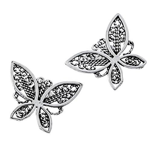 Butterfly Post Earrings (YACQ Jewelry 925 Sterling Silver Butterfly Women's Stud Earrings)