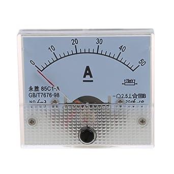 SODIAL Amperimetro Panel Rectangulo Analogico 85C1 CC 0-50A R