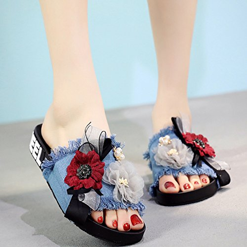 XKNSLX Casual Women's Cool Slippers Bottomed Casual Flat Bottomed Slippers Women's Shoes New Fashions Denim Summer Indoor and Outdoor Slippers B07DNZJKPM Flats 48632b