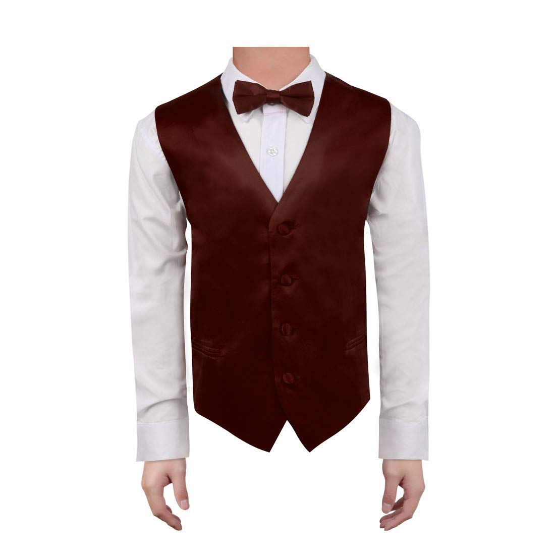 Dan Smith Men's Fashion Multiple Plain Microfiber Boys Vest Bow Tie for Age 6-16 With Free Gift Bags