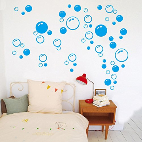 PHOTNO Bubbles Circle Removable Wall Wallpaper Bathroom Window Sticker Decal Home DIY (Blue) (Bubble Decals)