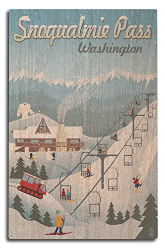 Snoqualmie Pass  Washington   Retro Ski Resort  10X15 Wood Wall Sign  Wall Decor Ready To Hang
