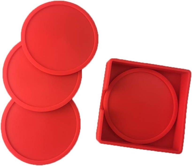 Posavasos juego de 4 tazas Pad Mat rojo redondo de silicona taza posavasos antideslizante para café cerveza taza de vino botella de cristal hogar y bar (rojo)