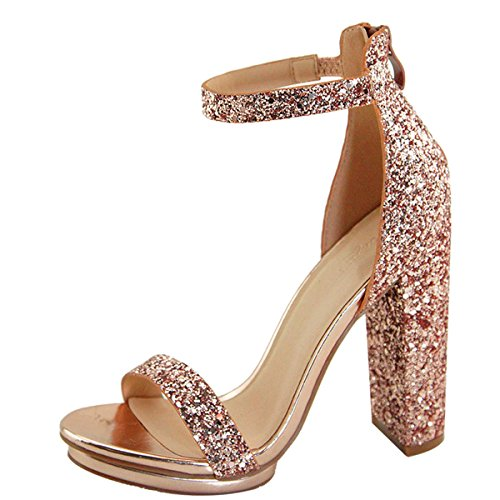 LovMark Womens Open Toe Elastic Ankle Strap Metallic Glitter High Heel Platform Pump Sandals 6 Rose (Metallic Open Toe Pumps)