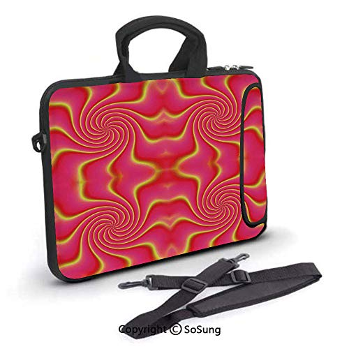 - 14 inch Laptop Case,Digital Pop Art Produced Figural Expanding Shady Lines and Nested Shape Design Neoprene Laptop Shoulder Bag Sleeve Case with Handle and Carrying & External Side Pocket,for Netbook/