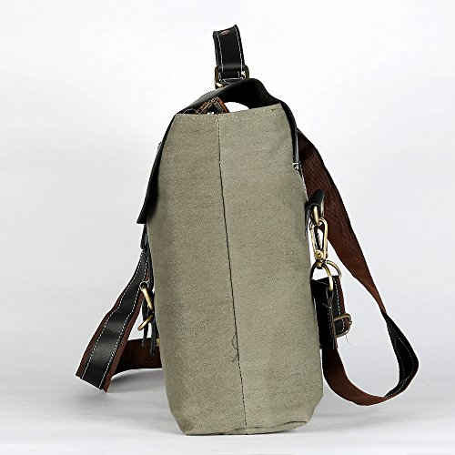 Shoulder 100 Leather Genuine Attractive Design Canvas Bag Bag Decorlives Dark Messenger Grey 4ZqHHv