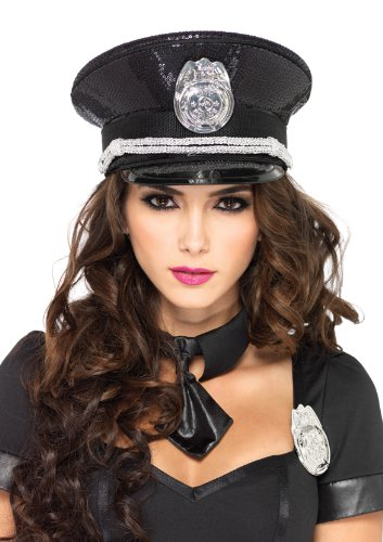 Leg Avenue Women's Sequin Cop Police Hat, Black, One Size